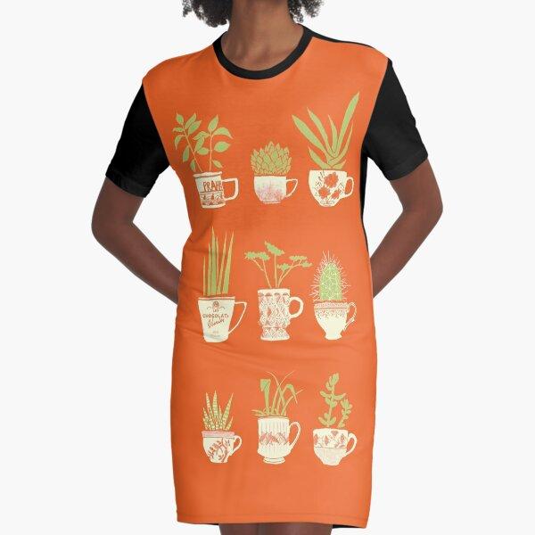 Teacup Succulents Graphic T-Shirt Dress