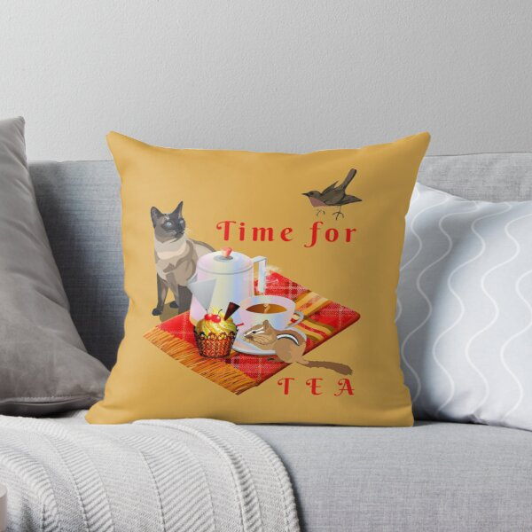 Time for Tea with sparrow and chipmunk friends Throw Pillow