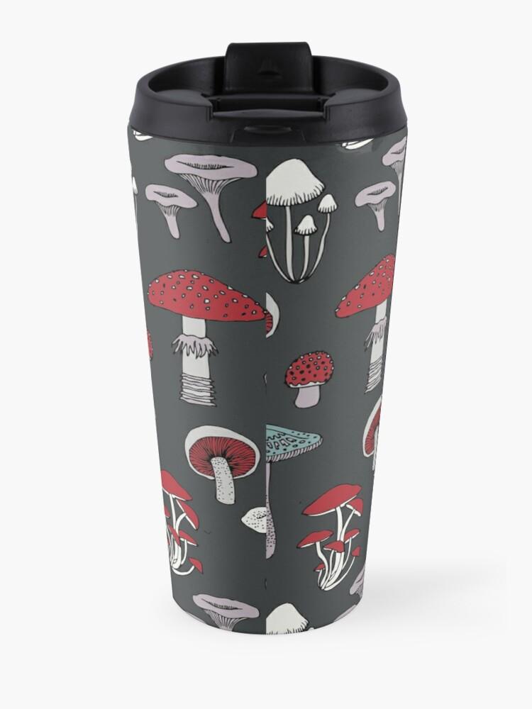 Alternate view of Midnight Mushrooms - fun fungus pattern by Cecca Designs Travel Mug