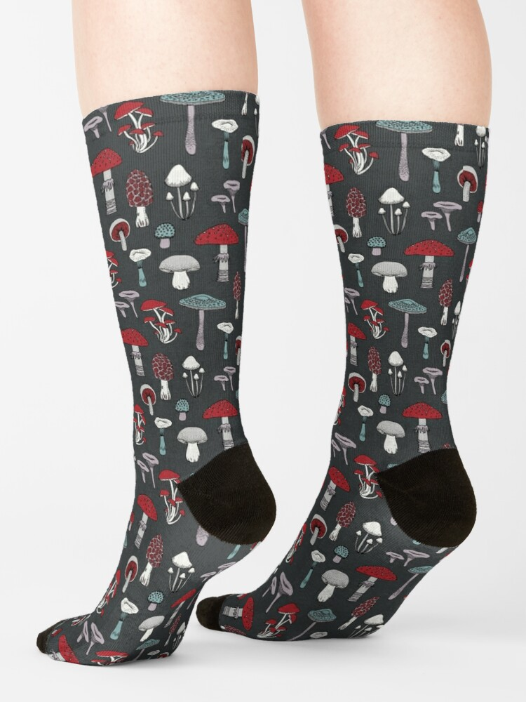 Alternate view of Midnight Mushrooms - fun fungus pattern by Cecca Designs Socks