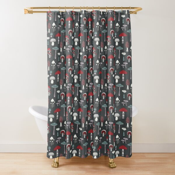 Midnight Mushrooms - fun fungus pattern by Cecca Designs Shower Curtain