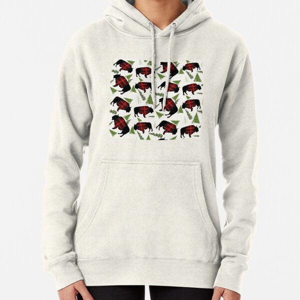 Buffalo Wearing Buffalo Plaid Holiday Sweater With Evergreens And Snowballs Pullover Hoodie
