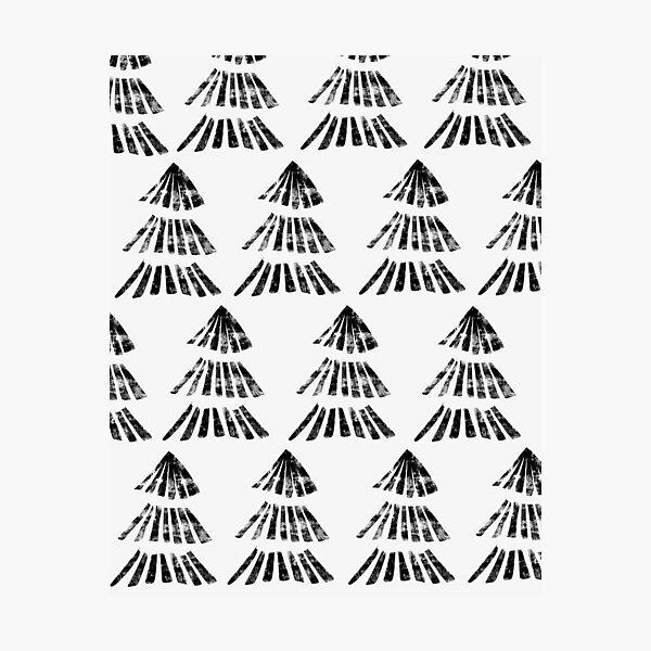 Fir trees block print pattern Photographic Print