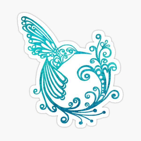 Blue Watercolor Stylized Hummingbird Sticker