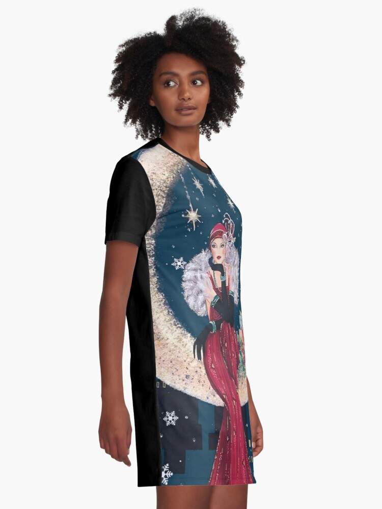 Alternate view of FLAPPER : Vintage High Style Beautiful Print Graphic T-Shirt Dress