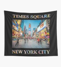 Times Square Sparkle (poster on black) Wall Tapestry
