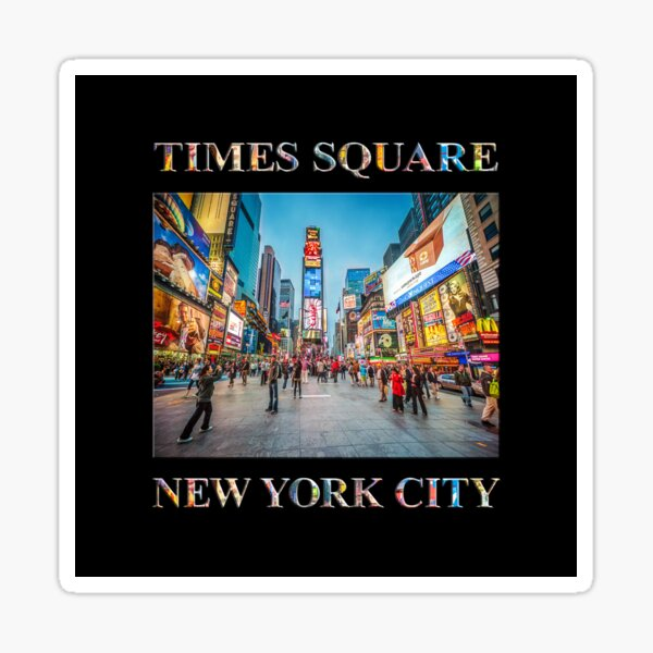 Times Square Sparkle (poster on black) Sticker