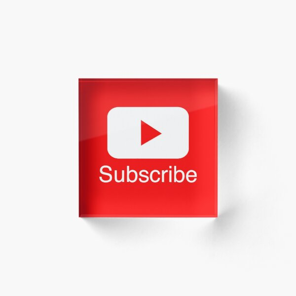 You Tube Subscribe Play Button Videos VLoggers Live Stream Acrylic Block