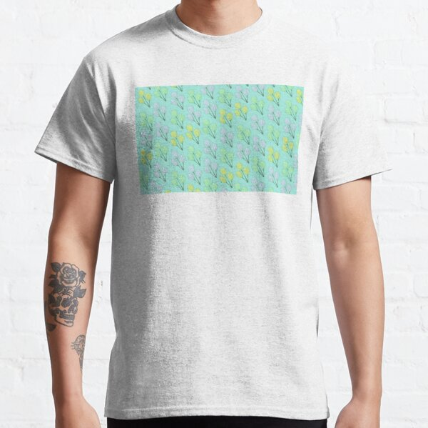 Cute Funky Modern Blue Wildflower Flower Design Fun Kids Toddler Cotton T-Shirt
