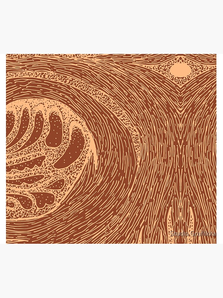 Mud Wave 1 - Abstract Lines - Terracotta Abstract - Modern, Contemporary Print - Brown, Burnt Orange by Shrijit