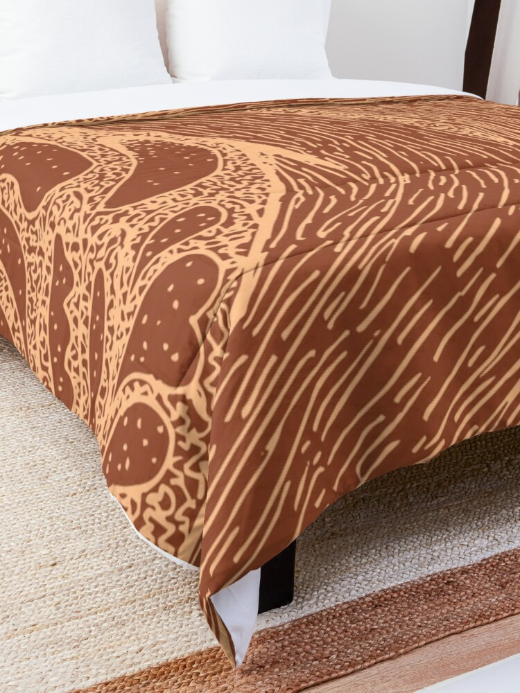 Alternate view of Mud Wave 1 - Abstract Lines - Terracotta Abstract - Modern, Contemporary Print - Brown, Burnt Orange Comforter