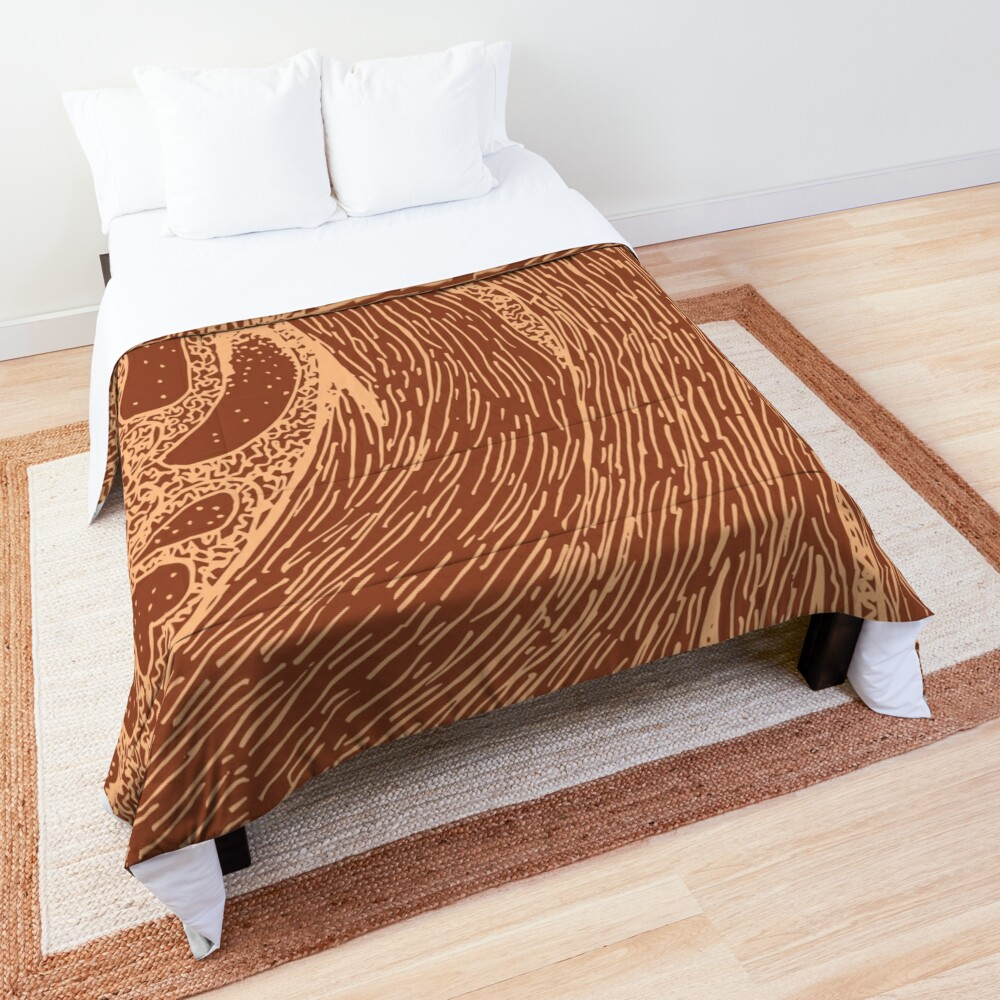 Mud Wave 1 - Abstract Lines - Terracotta Abstract - Modern, Contemporary Print - Brown, Burnt Orange Comforter