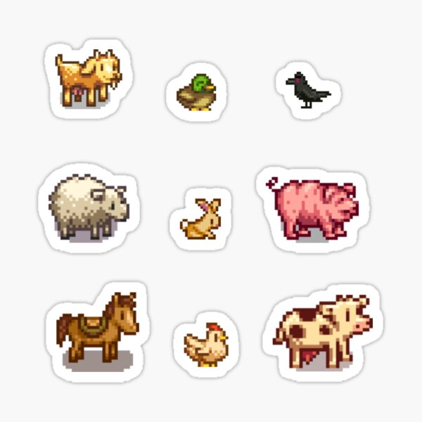 Pixelated Animals Sticker