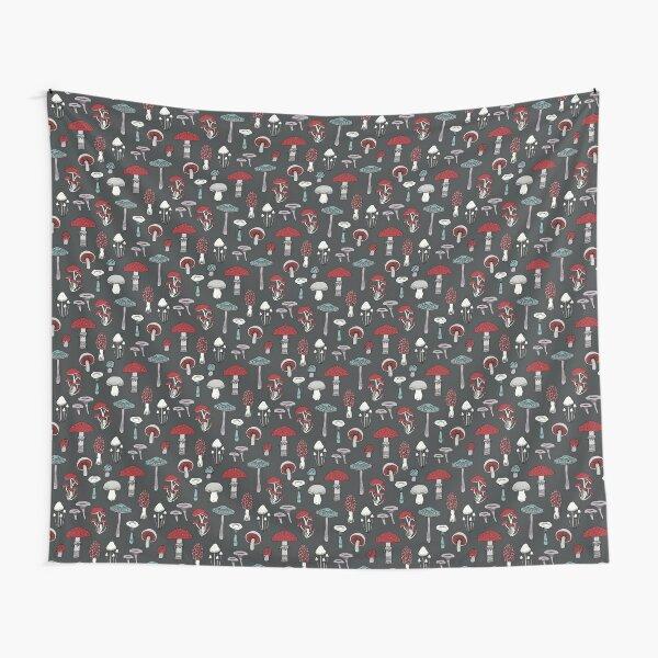 Midnight Mushrooms - fun fungus pattern by Cecca Designs Tapestry