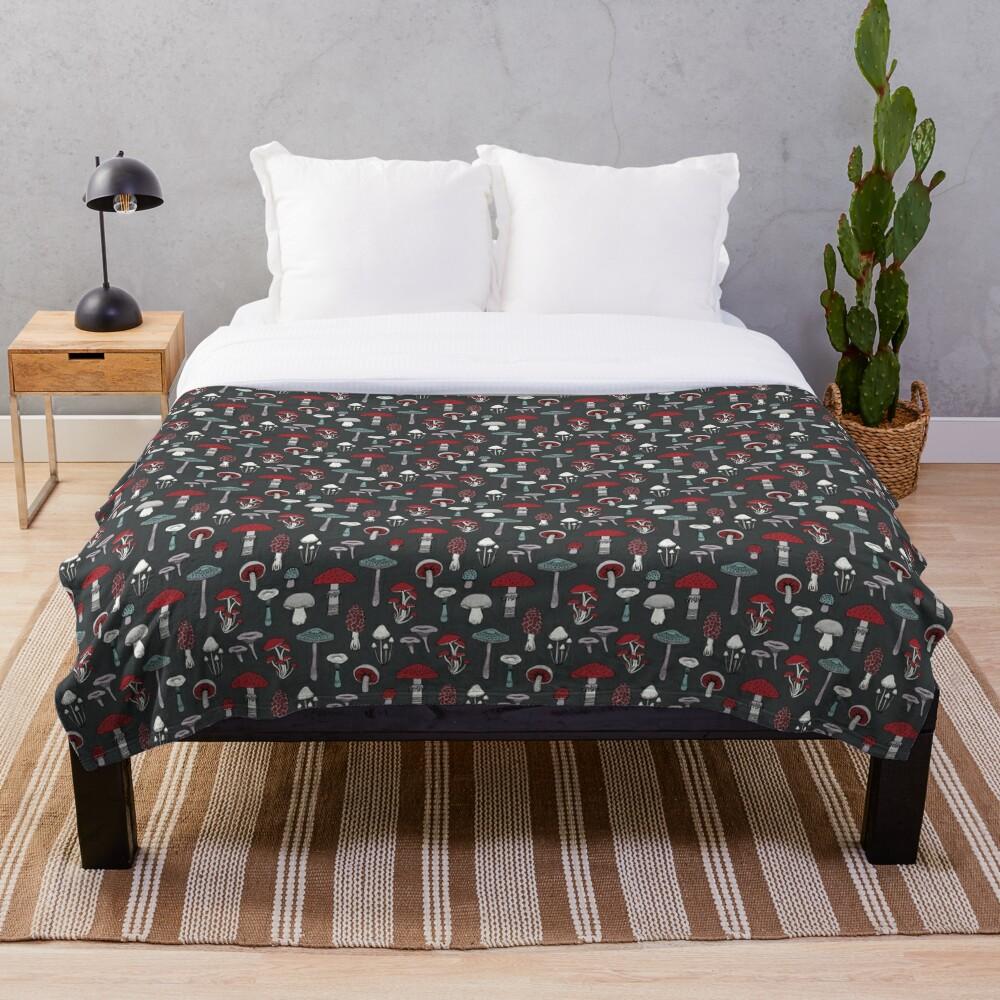 Midnight Mushrooms - fun fungus pattern by Cecca Designs Throw Blanket