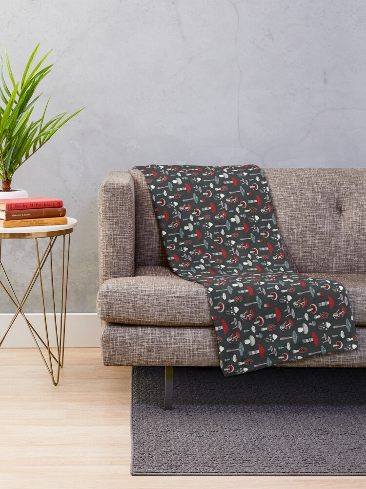 Alternate view of Midnight Mushrooms - fun fungus pattern by Cecca Designs Throw Blanket