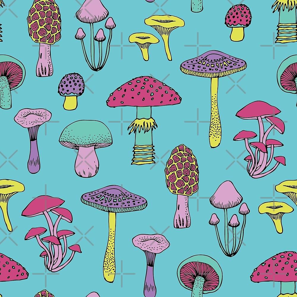 Workout Mushrooms - fun fungus pattern by Cecca Designs by Cecca-Designs