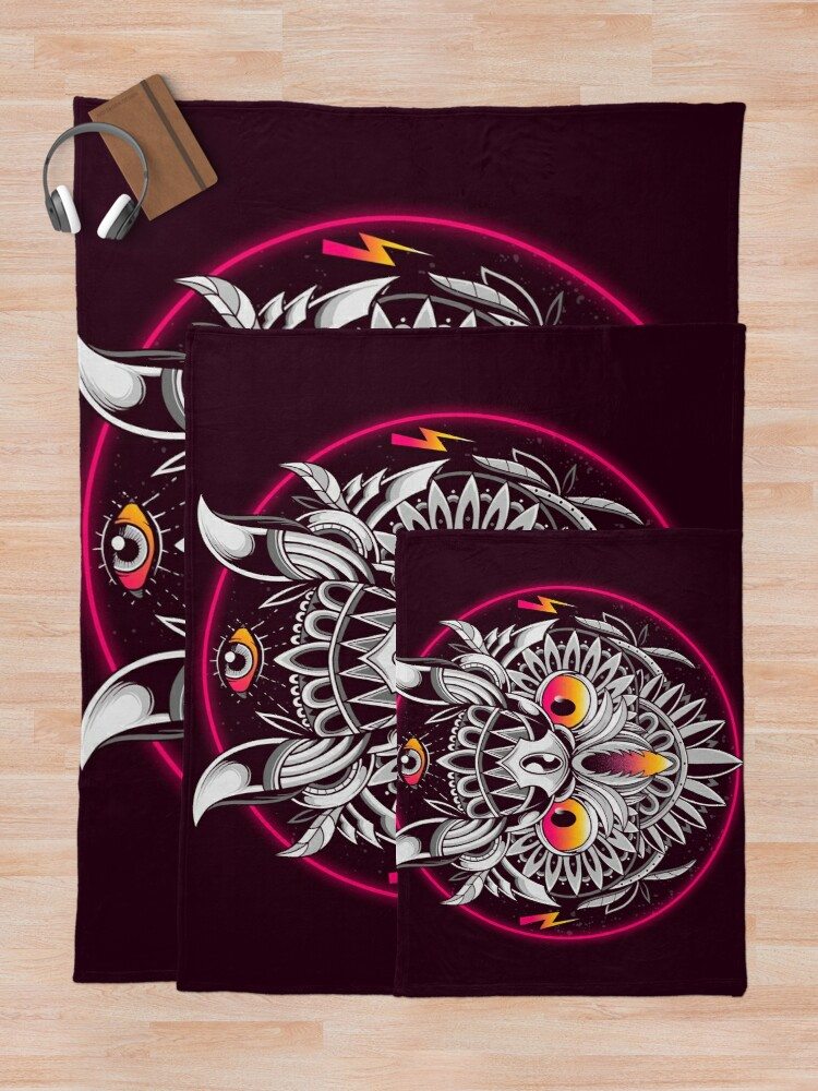 Alternate view of Retrowave Owl Throw Blanket