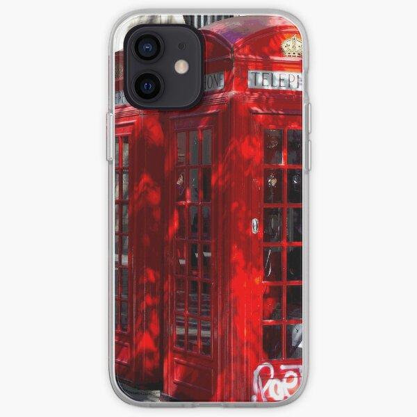 cabines telephoniques avec un graffiti à Londres Coque souple iPhone