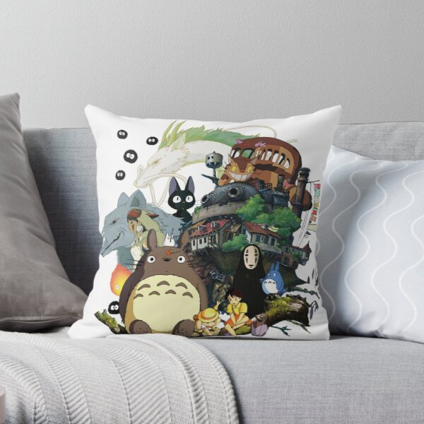Ghibli Collage Throw Pillow
