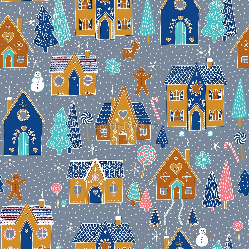 Gingerbread Houses in the snow - on silver - cute Christmas pattern by Cecca Designs by Cecca-Designs