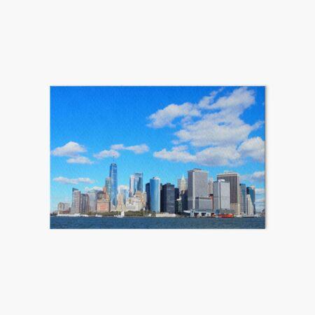 NYC skyline with a bright blue sky Art Board Print