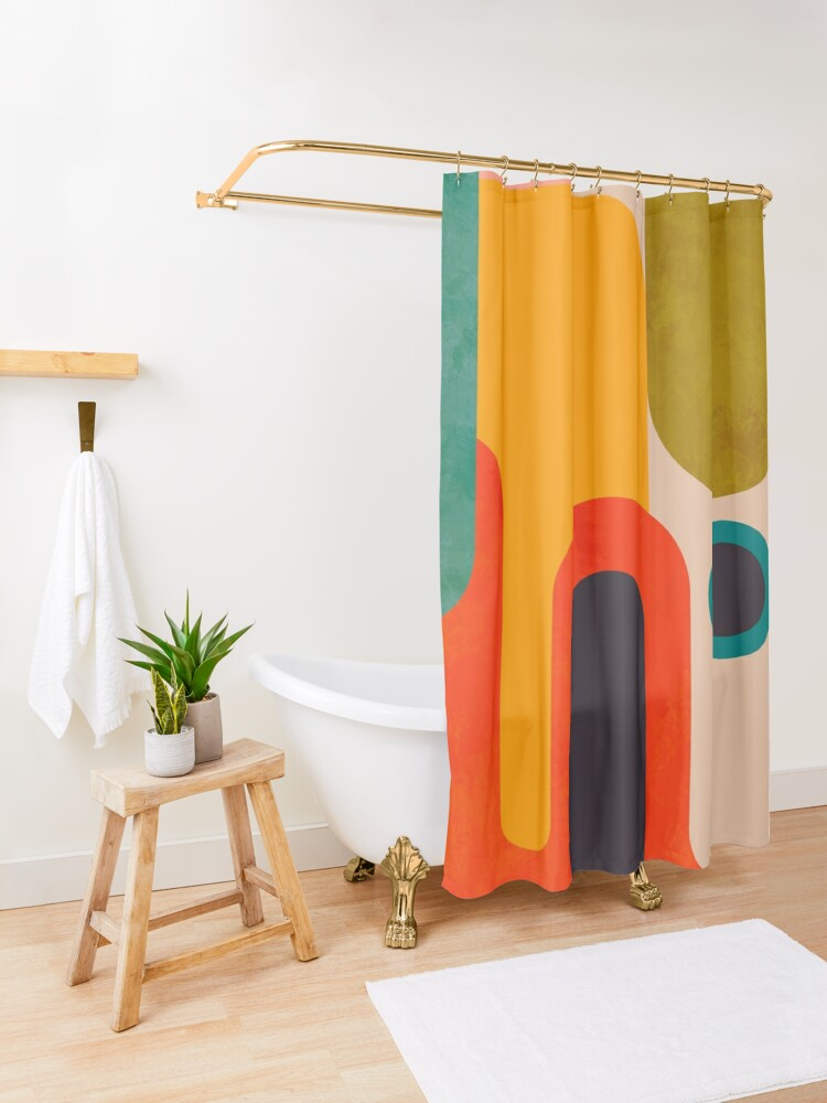 Alternate view of Geometric shapes abstract 8 Shower Curtain