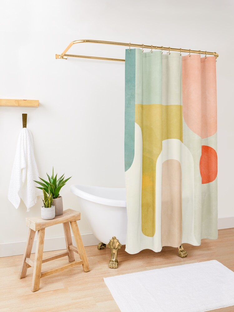 Alternate view of Geometry shapes abstract 9 Shower Curtain