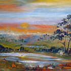 The sun sets in the west along the Lancefield-Woodend Road by Margaret Morgan (Watkins)