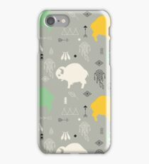 Seamless pattern with cute baby buffaloes and native American symbols iPhone Case/Skin
