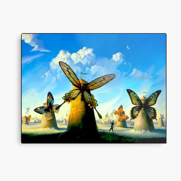 BUTTERFLY WINDMILLS  Vintage Abstract Print  Metal Print