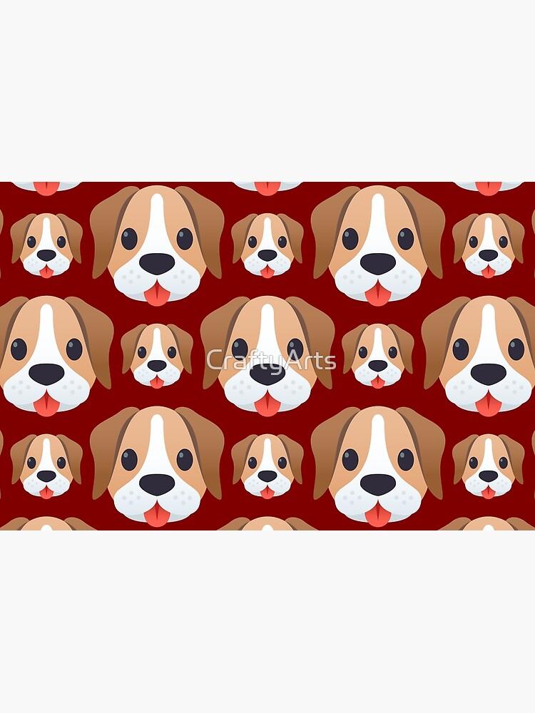 Dog emojis pattern on brown by CraftyArts