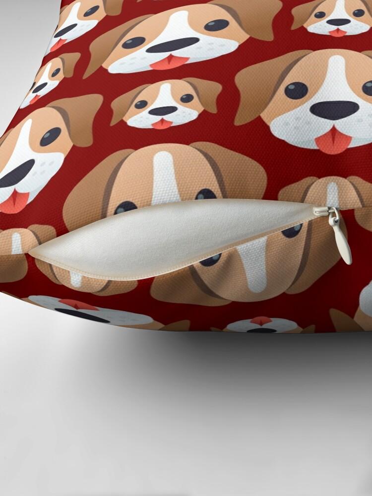 Alternate view of Dog emojis pattern on brown Floor Pillow