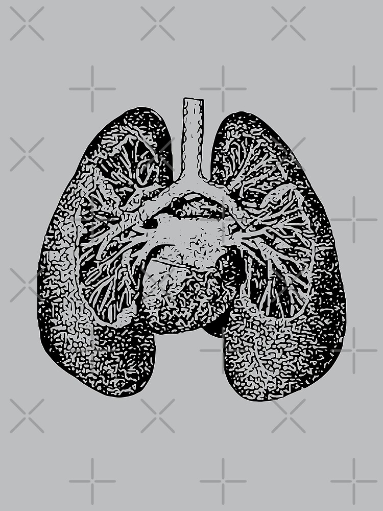 Anatomical Lungs Black on Grey by beththompsonart