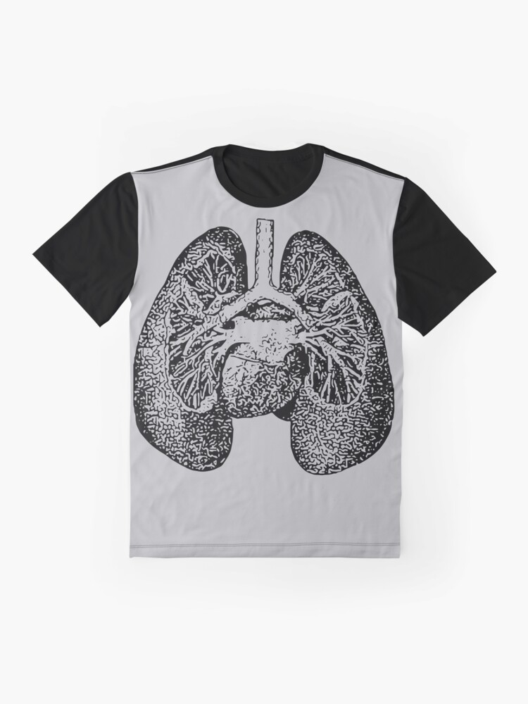 Alternate view of Anatomical Lungs Black on Grey Graphic T-Shirt