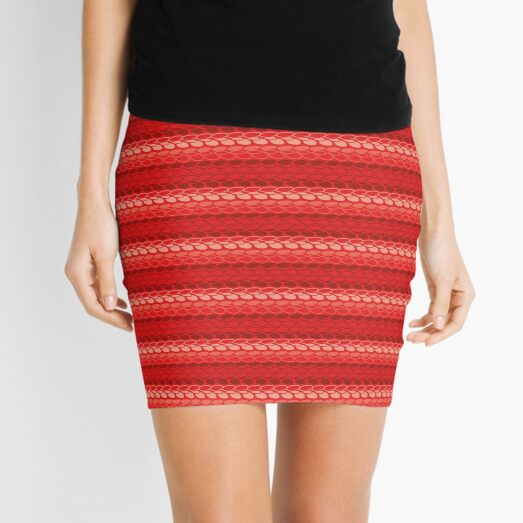 Faux slip stitch crochet pattern with red hues Mini Skirt