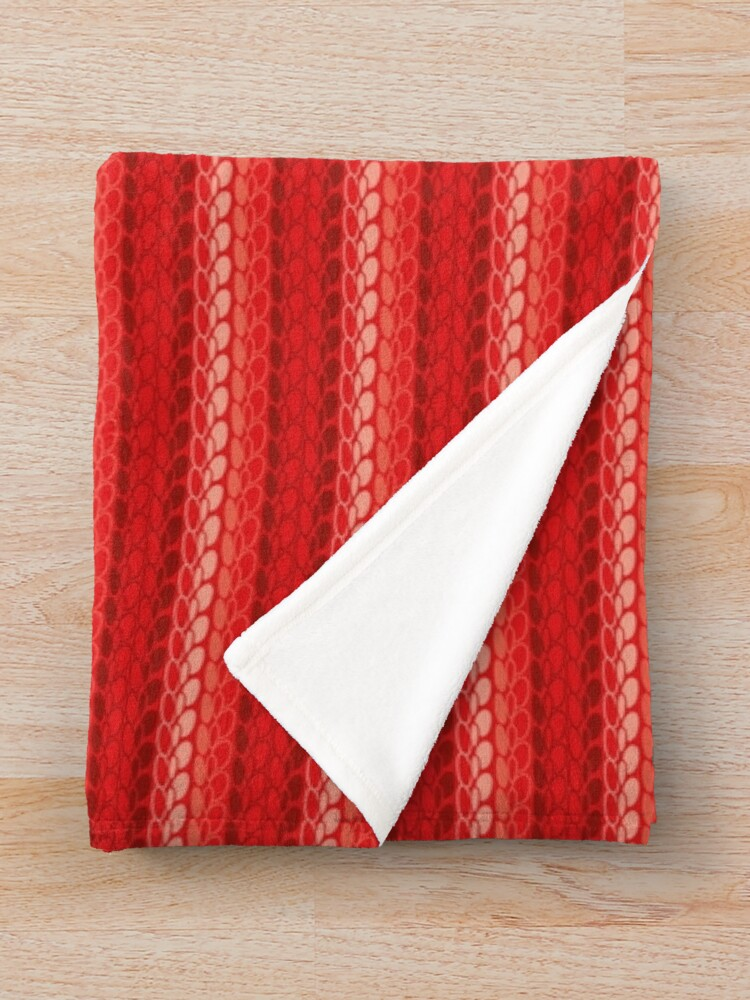 Alternate view of Faux slip stitch crochet pattern with red hues Throw Blanket