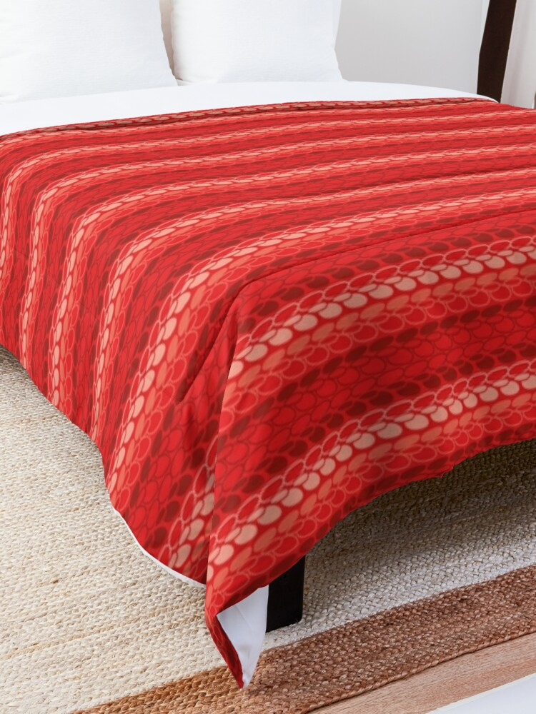 Alternate view of Faux slip stitch crochet pattern with red hues Comforter