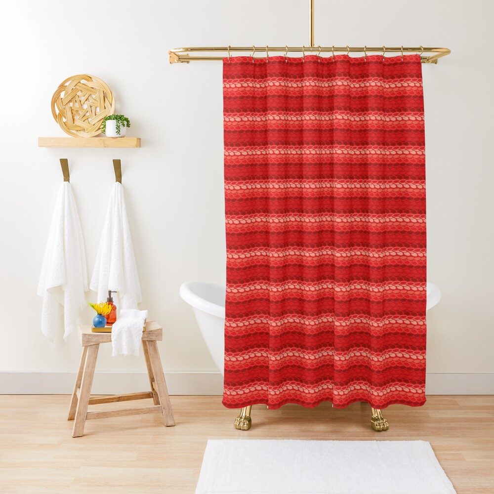 Faux slip stitch crochet pattern with red hues Shower Curtain