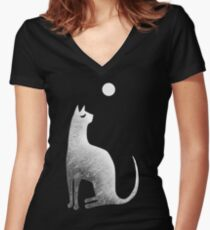 Ghost Cat and Moon in black and white Women's Fitted V-Neck T-Shirt