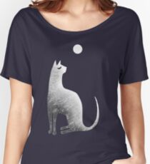 Ghost Cat and Moon in black and white Women's Relaxed Fit T-Shirt