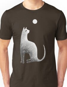 Ghost Cat and Moon in black and white T-Shirt