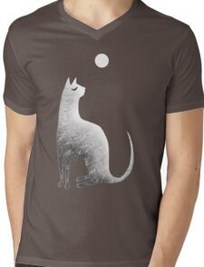 Ghost Cat and Moon in black and white Mens V-Neck T-Shirt