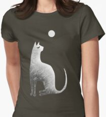 Ghost Cat and Moon in black and white Womens Fitted T-Shirt