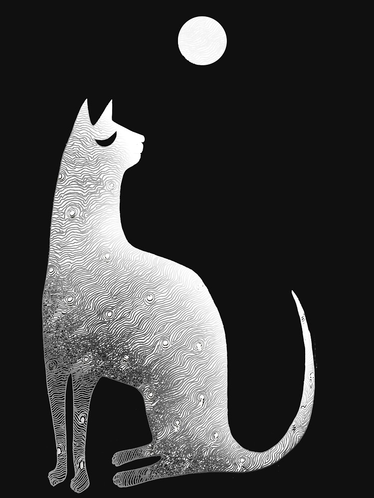 Ghost Cat and Moon in black and white | Unisex T-Shirt