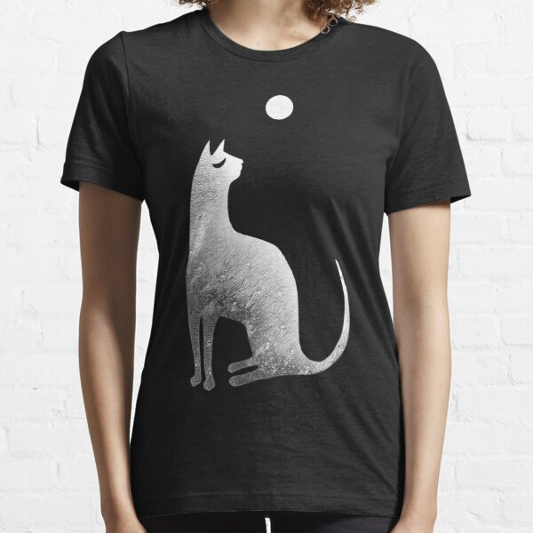 Ghost Cat and Moon in black and white Essential T-Shirt