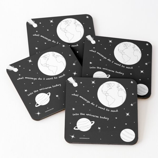 MantraMouse® Universe Message Cartoon Coasters (Set of 4)