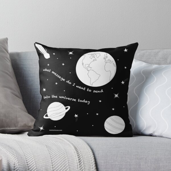 MantraMouse® Universe Message Cartoon Throw Pillow