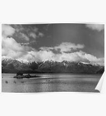 Lake Nahuel Huapi, Patagonia, Argentina (Black & white) Poster