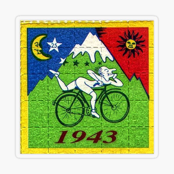 Día de la bicicleta LSD Blotter Art Tabs Pegatina transparente